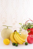 Fresh fruits with juice. Fresh fruits at the table Stock Photo