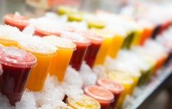 Fresh fruits juices Royalty Free Stock Photo