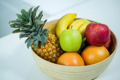 Fresh fruits on the kitchen table Royalty Free Stock Images
