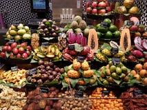 Fruit stall at La Boqueria, Barcelona stock photos