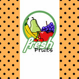 Fresh fruits label design Royalty Free Stock Images