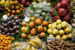 Fresh fruits on the market Stock Images