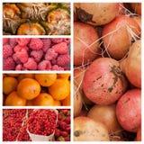Fresh fruits at the market background Stock Photos