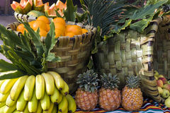 Fresh fruits from the market in baskets Stock Photo
