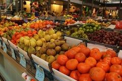 Fresh Fruits. At daily market. Figueira da Foz - Portugal The price is in Euros per Kilogram stock photo
