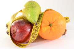 Fruits and meter, diet concept royalty free stock images