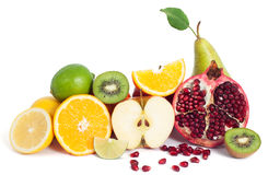Fresh fruits mix. Fresh cocktail fruits mix isolated stock photography