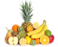Fresh fruits mixed isolated Stock Images
