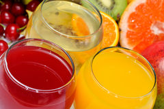 Fresh fruits and natural juice Stock Image