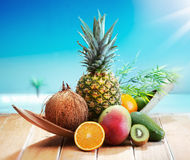 Fresh Fruits On The Beach Royalty Free Stock Images