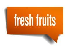 Fresh fruits orange 3d speech bubble. Fresh fruits orange 3d square isolated speech bubble Stock Photography