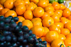 Fresh fruits orange  grape Stock Photo