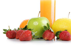 Fresh fruits and orange juice Stock Images