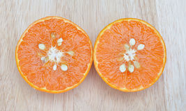 Fresh fruits orange on wood board background Stock Image