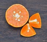 Fresh fruits orange on wood board background Stock Images
