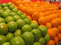 Fresh Fruits Oranges Green Apples Stock Images