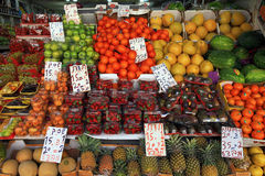 Fresh fruits in the outdoor Carmel Market in Tel Aviv, Israel. TEL AVIV, ISRAEL - APRIL 7, 2016: Fresh fruits are sold in the outdoor Carmel Market in Tel Aviv Royalty Free Stock Photo