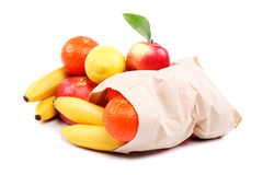 Fresh fruits in a paper bag. Royalty Free Stock Image