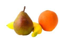 Fresh Fruits: Pear, Banana and Orange. Isolatet Stock Photography