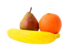 Fresh Fruits: Pear, Banana and Orange. Isolatet Royalty Free Stock Image