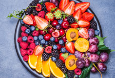 Fresh fruits plate. stock photos