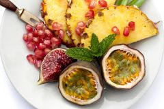 Fruits on a plate Royalty Free Stock Image
