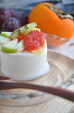 Fresh Fruits on Pudding Royalty Free Stock Photos