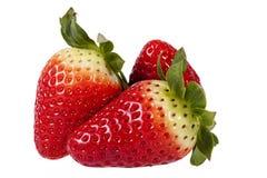 Fresh fruits of red strawberry isolated on white background, close up Stock Photo