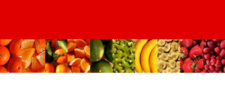 Fresh fruits in a row of rectangle shapes. One row of ten vertical rectangles full of fresh fruits: mandarins, orange and mandarin pieces, tangerines, limes Royalty Free Stock Photos