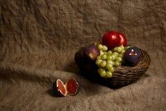 Fresh fruits on sack Stock Images