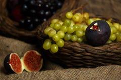 Fresh fruits on sack Stock Image