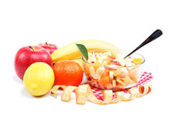 Fresh fruits and salad. Stock Images