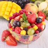 Fresh fruits salad. In bowl royalty free stock image