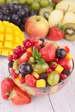 Fresh fruits salad. In bowl stock photos