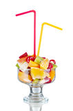 Fresh fruits salad in bowl and berries, Stock Image