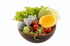 Fresh fruits salad. On isolated background royalty free stock photo