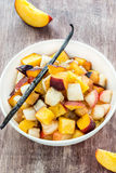 Fresh fruits salad with vanilla Royalty Free Stock Photos