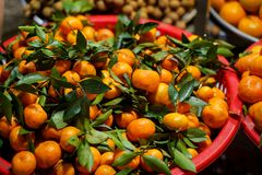 Fresh fruits for sale. At night market in Vietnam. Exotic tropical food stock image