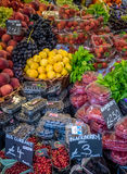 Fresh fruits on sale. Various fresh fruits on display on a stall at Borough Market in London, UK Stock Photos