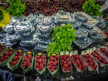 Fresh fruits on sale. Various fresh fruits on display on a stall at Borough Market in London, UK Stock Photo