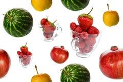 Fresh fruits seamless background Stock Photos