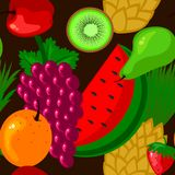 Fresh fruits in seamless background illustration Stock Photo
