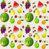 Fresh fruits seamless pattern Stock Photo