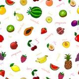 Fresh fruits seamless pattern. With pear watermelon kiwi and garnet vector illustration vector illustration