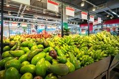 Fresh fruits on shelf in supermarket.  stock photography