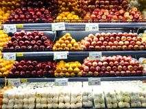 Fresh fruits on the shelves of a grocery Royalty Free Stock Photo
