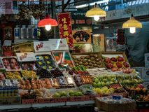 Fruit vendor in the china town market stock photos