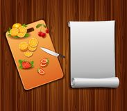 Fresh fruits slices on the table with a knife. On a cutting board background royalty free illustration
