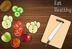 Fresh fruits slices on the table with a knife on a cutting board background. Illustration of Fresh fruits slices on the table with a knife on a cutting board stock illustration