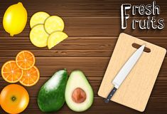 Fresh fruits slices on the table with a knife on a cutting board background. Illustration of Fresh fruits slices on the table with a knife on a cutting board royalty free illustration